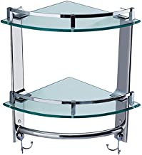 YAeele Badkamer plank roestvrij staal Wall Mounted Corner Basket, Badkamer Double Layer met haak Plank van het Glas, Stora...