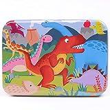 Meiyiu 120pcs / Set Rompecabezas de Madera Lovely Cartoon Pattern Colorful Jigsaw Child Assembly Toys Dinosaurios