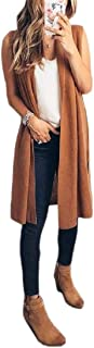 Womens Fashion Casual Sleeveless Open Front Vest Long Cardigan Tops Coat