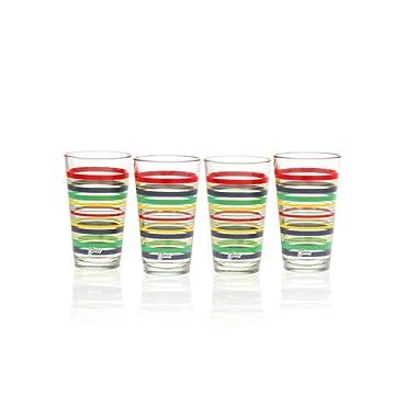 Fiesta Cobalt Stripe 16-Ounce Tapered Cooler Glass (Set of 4)