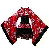 Womens Girls Hakama Kimono Set Japanese Traditional Koi Fish Arrow Feather Pattern Samurai Kimono Costume (Chinese Red Sakura, M)