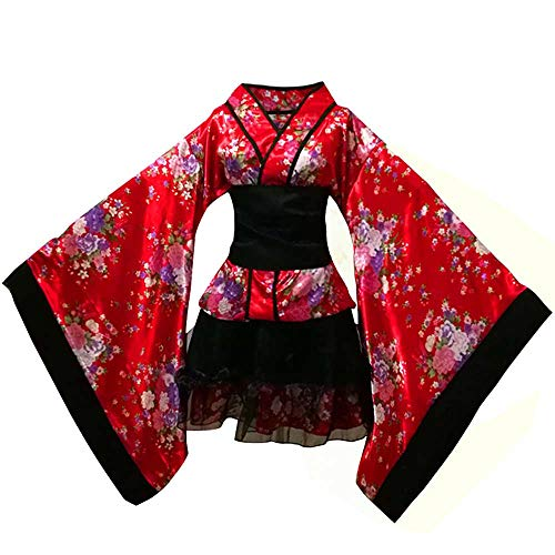 Sexy Floral Short Kimono Robe Women's Deep V-Neck Traditional Yukata Sakura Satin Bathrobe Wedding Robe Cosplay Fancy Dress (Chinese Red Sakura, XL)