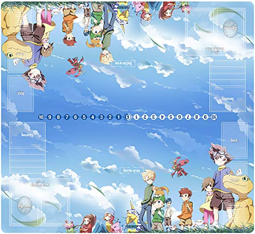 2-Player Digimon Trading Card Game Playmat with DTCG Card Zones Custom Playmat