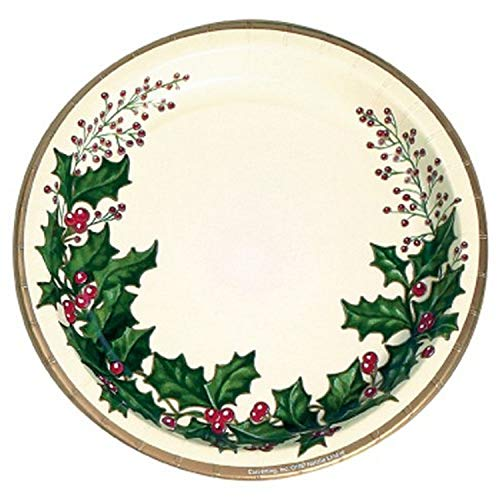 Holly Paper Plates for Christmas Party