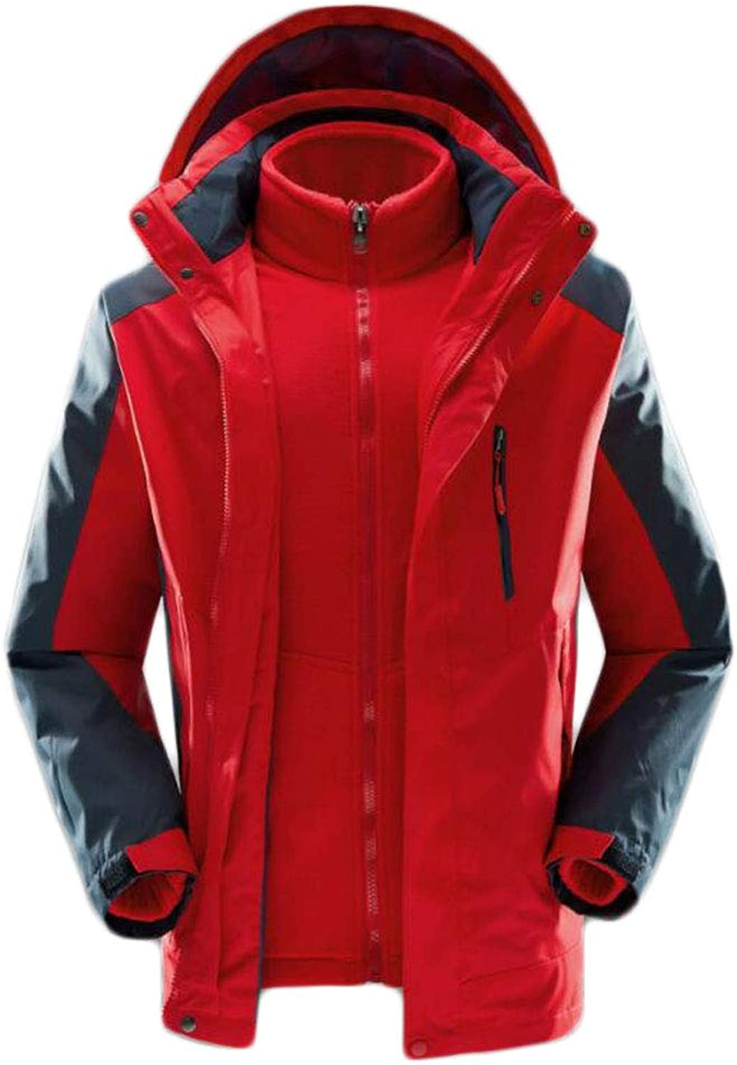 ZJEXJJ Men's winter thick cotton clothes loose large size winter three-in-one jacket winter jacket jacket (color   RED, Size   XXL)