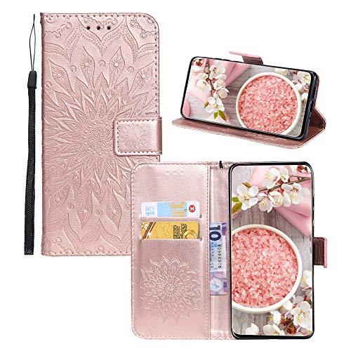 JZ [Flor solar 3D] Capa flip para Samsung Galaxy A8s 2018 / A9 Pro 2019 Capa carteira protetora de couro PU - Ouro rosa