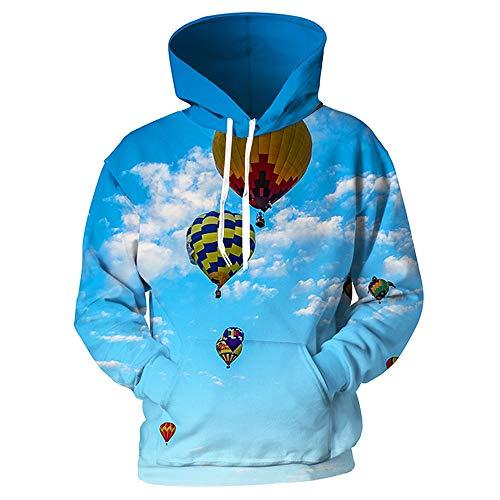 XIELH sweatshirt met capuchon Fire Balloon Print Fashion Sweatshirt met capuchon heren dames pullover tops lange mouwen 3D
