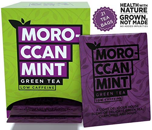 Moroccan Mint Tea Bags, Green Tea Blended with Natural Chamomile Spearmint and Peppermint for Degoodand good health, Steep as Hot Tea or Iced, Medium Caffeine (20 Bags+ 1 Bag Free)