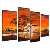 Cuadro en lienzo África 130x 80cm 4Lienzos Modelo NR XXL 6138. I Cuadros Sono fotomatón sobre taco de madera auténtico. Impresión Artistica intelaiata y listo para colgar