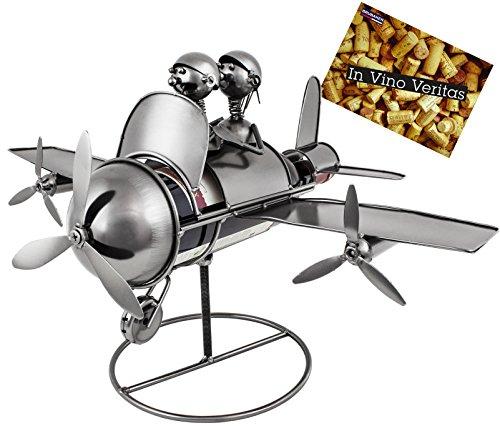 BRUBAKER Weinflaschenhalter Flugzeug Flieger mit Pilot und Co Pilot Flaschenständer Metall Deko-Objekt mit Grußkarte für Weingeschenk