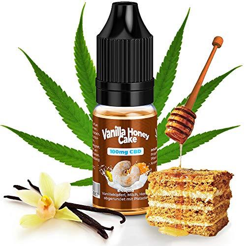 CBD Liquid 100mg von KDM Liquids® Geschmack Vanilla Honey Cake 10ml mit Zertifiziertes CBD Base mit Reinheit von 99,5{0e18e1db01598f0ae9ebe4f0de6c697da2773fbce68fb4d5edf9dd73ead88832} - Cannabis E-Liquid ohne Nikotin und THC für E-Zigarette Shake & Vape