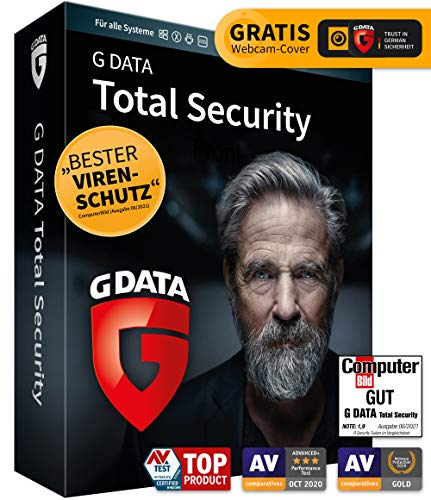 G DATA Total Security 2021, 1 Gerät - 1 Jahr, DVD-ROM inkl. Webcam-Cover, Virenschutz Windows, Mac, Android, iOS, Made in Germany - zukünftige Updates inklusive
