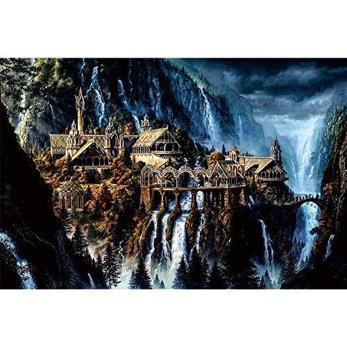 Ingooood- Jigsaw Puzzles 1000 Pieces for Adult- Tranquil Series- Waterfall Town_IG-1055 Entertainment Wooden Puzzles Toys