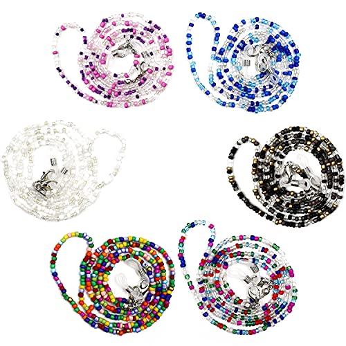 Cordón para Gafas 6PCS,Cuerda Gafas de Sol, Una Cómoda Cadena de Vidrio con Un Clip, Retenedor Cadenas Gafas Lectura para Mujer Hombre Niño
