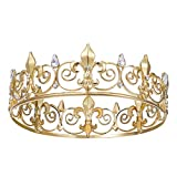 SWEETV Royal Full King Crown - Metal Crowns and Tiaras for Men Prom King Party Hats Costume Accessories, Gold
