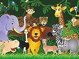 wandmotiv24 Carta da parati animali della giungla Größe: 350 x 260 cm Carta da parati a motivi, carta da parati a motivi, carta da parati in vinile KTk2