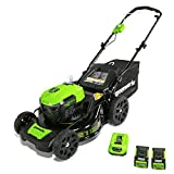 greenworks 40V 21 inch Brushless Dual PH Mower with Two 2.5AH Batteries and Charger, MO40L2512