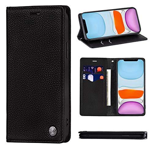 ZCDAYE Funda para iPhone 11 Pro Max, de piel magnética de alta calidad [patrón de litch] [antihuellas] resistente a los arañazos funda con ranuras para tarjetas, color negro