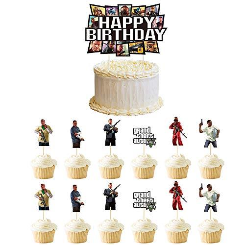 Klionjor Birthday Cake topper Grand Theft Auto Happy Birthday Plugin Kids Video Game Game Theme Party Cake Baking Decoration 1 3 Piece Set