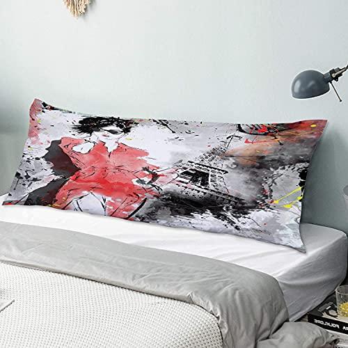 Personalizado Funda de Almohada Larga,Paris Modern Parisienne Moda Francesa Dama Mujer en Complejo Grunge Moderno,Funda de Almohada para el Cuerpo con Cremallera Sofá para Dormitorio,54' x 20'