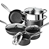 Hard Anodized Cookware Set 10 Piece, PRO Nonstick Hard Anodized Pots and Pans Set with Stone...