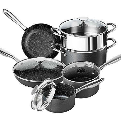 MICHELANGELO Stone Pots and Pans Set 10 Piece, Pro. Nonstick Hard Anodized Cookware Sets with Stone Interior, Stone Cookware Set with Straining Lid & Pour Spout, Granite Cookware Sets