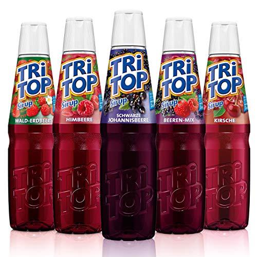 TRi TOP Getränkesirup 5er Set | Kirsche, Waldbeere-Erdbeer, Schw. Johannisbeere, Himbeere, Beeren-Mix | 5x600ml [5Liter Erfrischungsgetränk pro Flasche]