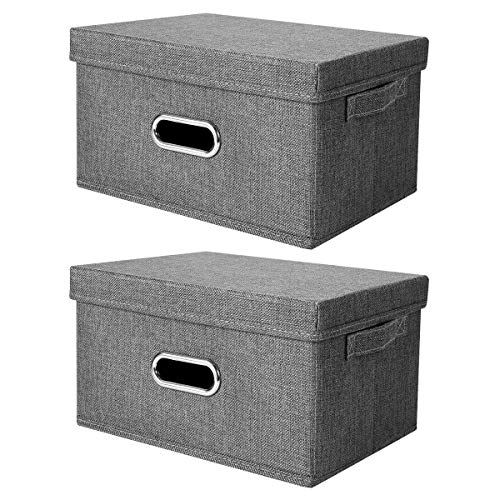 ANMINY 2 PCS Storage Boxes with Handles Removable Lids PP Plastic Board Foldable Lidded Cotton Linen Home Storage Cubes Bins Baskets Closet Clothes Toys Organizer Containers - Gray, Medium Size