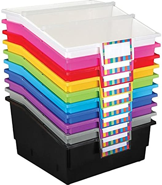 Really Good Stuff Picture Book Library Bins With Dividers 12Pack Rainbow