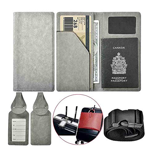 XeYOU Travel Wallet and Passport Holder Securely Holds Passport,ID Cards Cover with 2 Matching Luggage Tags and Luggage Strap (Grey)