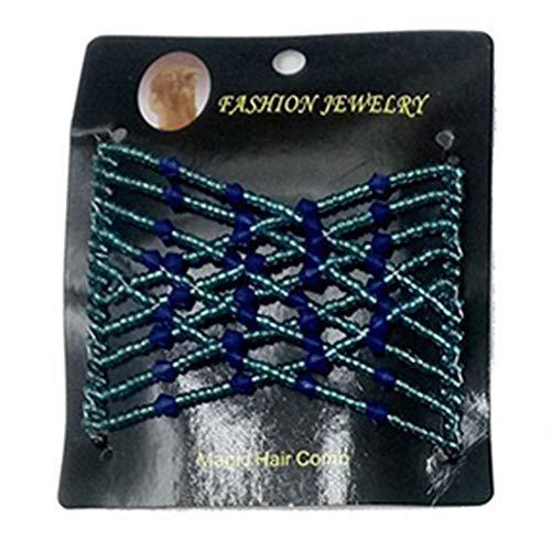 Zhouba Femme Vintage élastique Perles Magic Peigne à cheveux double Slide Pince Pique à cheveux accessoire