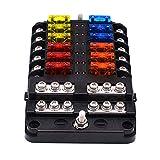 KKmoon 12 vías Caja de fusibles con Bus negativo, Bloque Portafusibles con indicador LED para Barco Camión de coches
