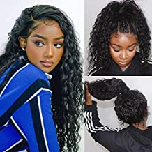 ULOVE HAIR Water Wave Human Hair Lace Front Wigs 100% Brazilian Human Hair wet and wavy 13x4 Lace Front Deep Curly Wig with Baby Hair(12 inch)