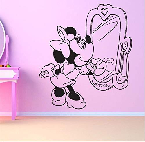 MUXIAND Muurstickers, Muis spiegel meisje Aangepaste naam PVC Home Decor muur Vinyl Kwekerij Kamer Interieur Lettering Art Room DIY Verjaardagscadeau Reizen Living58x66cm