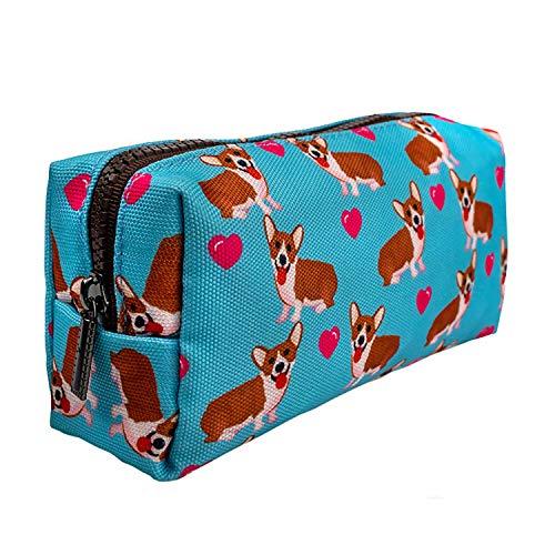 LParkin Kawaii Corgi Dogs Students Large Capacity Cute Gadget Canvas Pencil Case Pen Bag Pouch Box Stationary Case Makeup Cosmetic Bag for Girls (Blue)