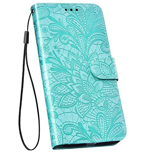 Ysimee Handyhülle kompatibel mit Huawei P30 Leder, Blumen Muster Einfarbig Brieftasche Schutzhülle mit Kartenfach Klappbar Stoßfest Kratzfest Hülle Leder Handy Tasche Schale, Grün