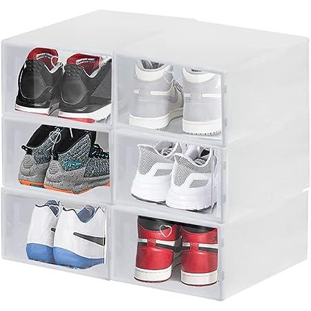 CODIRATO 6 PCS Boîte à Chaussures en Plastique avec Couvercle Transparent Boîte à Chaussures de Rangement Respirant Solide Boîte à Chaussures Pliable et Empilable 2 Tailles pour Femme et Homme(Blanc)