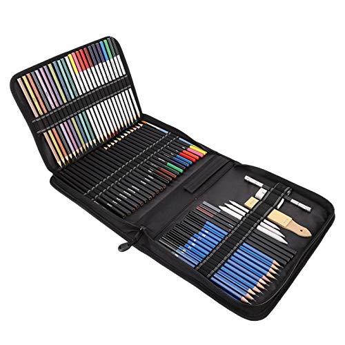 72 lápices de colores profesionales, lápices de dibujo y kit de dibujo, kit de artista completo con bolsa de transporte, material escolar ideal para principiantes, artistas profesionales, niños, adult