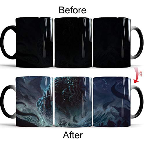 WPHRL Color Changing Mug Tasse mit Thermoeffekt Farbwechsel Tasse Cthulhu Mythos Bürotasse Geschenke für den Chef - Kaffetasse