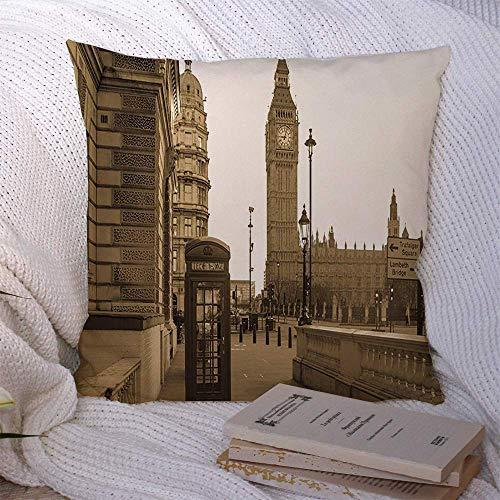 N\A Dekorative Kissenbezüge für Schlafsofa Couch Classic European London Großer Vintage Big Ben Tower Red Booth Architektur Box Großbritannien Britischer Alter weicher Kissenbezug