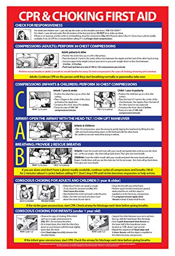 CPR Poster Laminated - Heimlich Maneuver Poster - Baby CPR Poster - Infant CPR Poster - Choking Poster for Restaurants - CPR Guidelines - 12 x 18 Inches, Laminated
