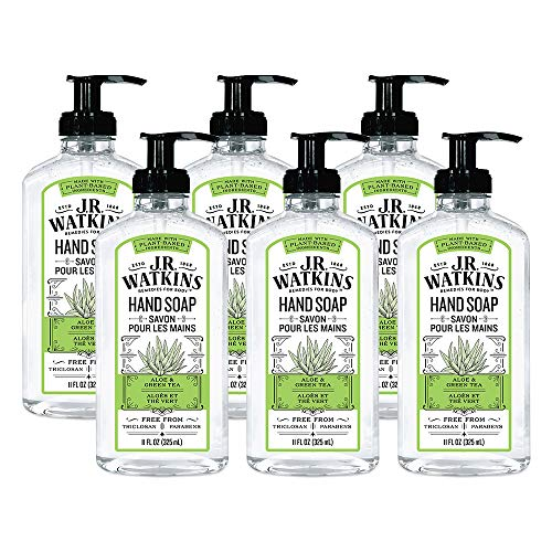 JR Watkins Gel Hand Soap, Aloe & Green Tea, 6 Pack, Scented Liquid Hand Wash for Bathroom or Kitchen, USA Made and Cruelty Free, 11 fl oz