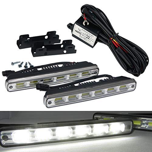 VAWAR LED Tagfahrlicht, dimmbare Tagfahrleuchten, mehr als ECE R87, DC 12V, 6x COB, 12W, Weiß