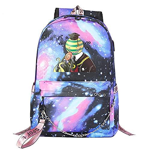 ZZGOO-LL Assassination Classroom With chain USB Anime Zaini backpack Scuola per Uomo Donna, Lavoro, Tablet Unisex Starry sky-E
