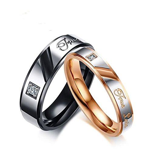Bishilin 2 Pcs Edelstahl Paar Ring Rosegold Schwarz mit Gravur True Love Zirkonia Breite 6/4MM Rund Verlobungsring Trauring Rosegold Schwarz Damen Gr. 60 (19.1) & Herren Gr. 62 (19.7)
