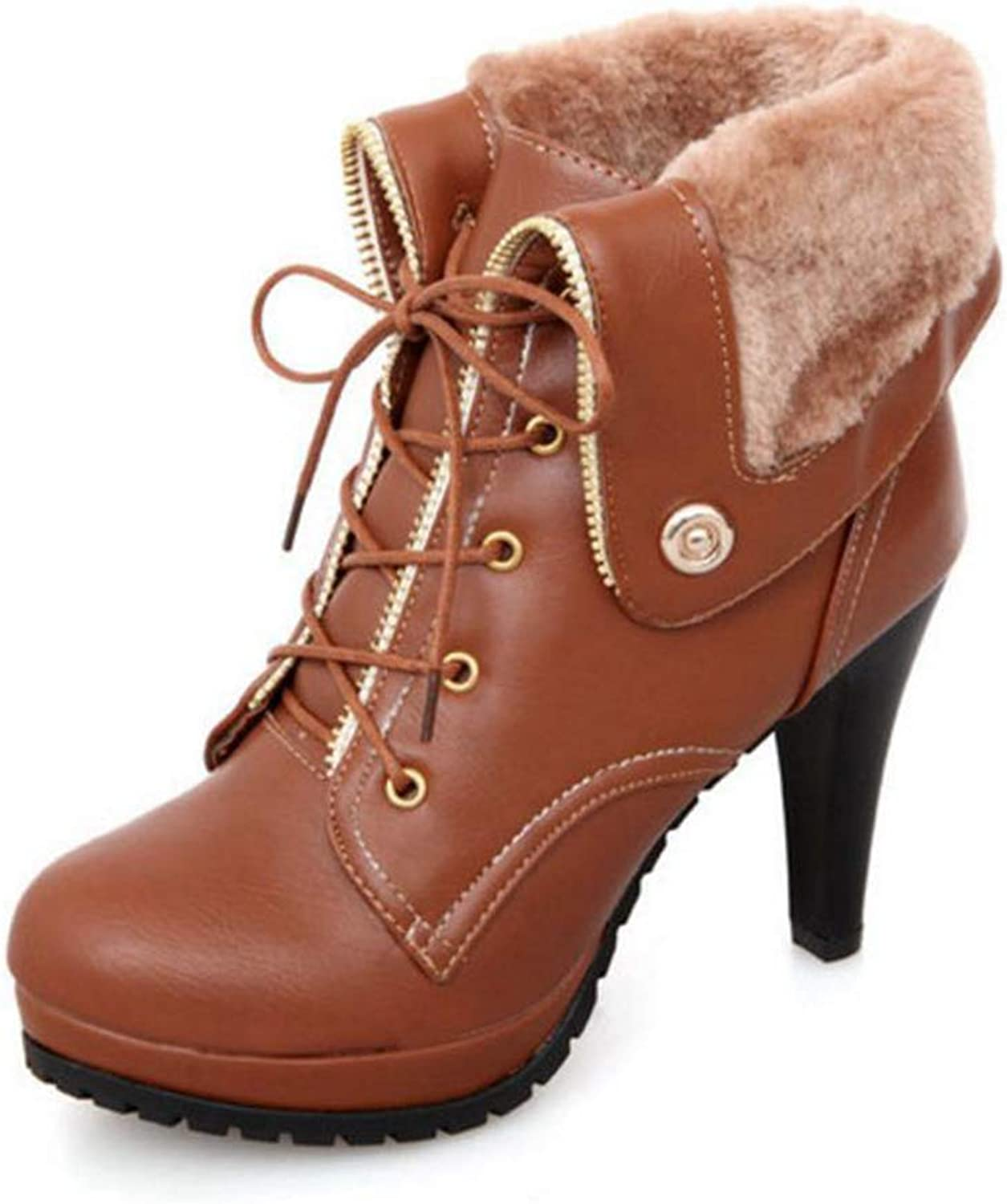 Women shoes Short Ankle Lace Up Spike Heels Warm Winter Fur shoes Women High Heels Platform Snow Boots