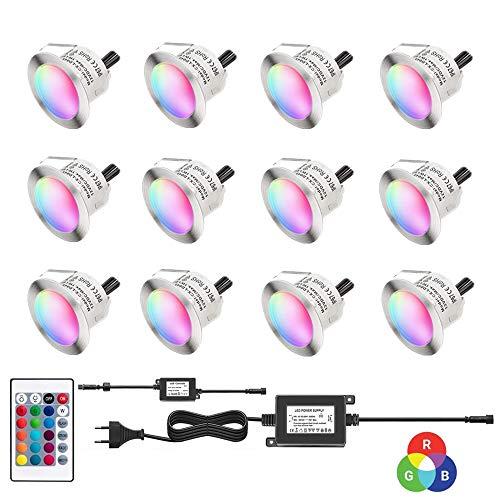 Dystaval - Set di 12 faretti LED da incasso, con telecomando, impermeabile IP67, Ø 45 mm, per terrazza in legno, piscina, esterni, faretti da incasso RGB da soffitto, DC12 V, kit mini faretto LED
