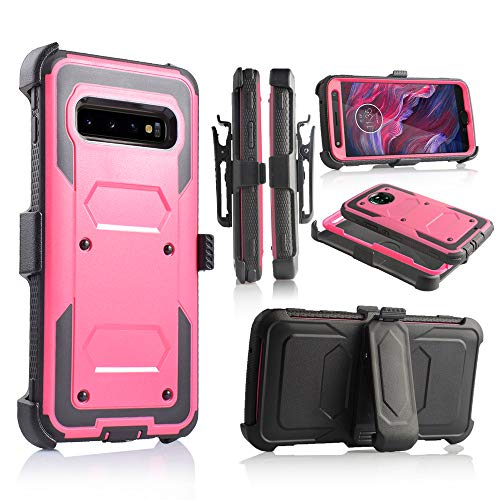 for Samsung Galaxy S10e | Dual-Layer Military Grade Phone Cover, Built-in [Screen Protector] Full-Body Armor Case [Belt Clip Holster][Kickstand] (for Samsung Galaxy S10 E) (Pink)