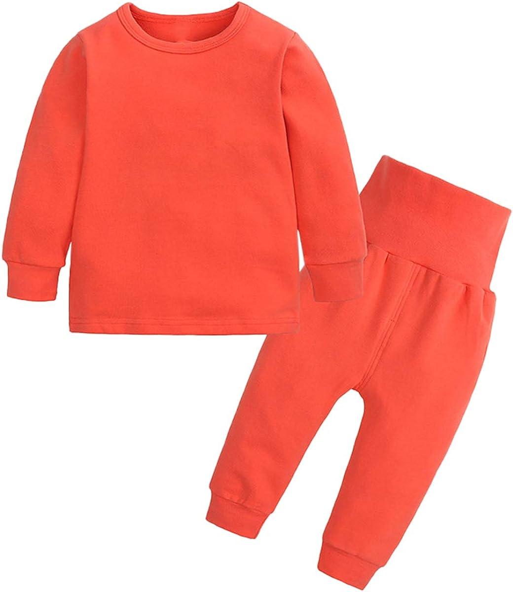Toddler Girl's Thermal Underwear Set Base Layer Top & Bottom Set, Orange, 9-12 Months = Tag 80