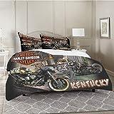 Harley Davidson - Set copripiumino matrimoniale in microfibra morbida e leggera, per tutte le stagioni, 3 pezzi (1 trapunta, 2 federe per cuscini)
